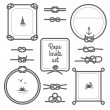 Round and square rope frames and various knots bla...