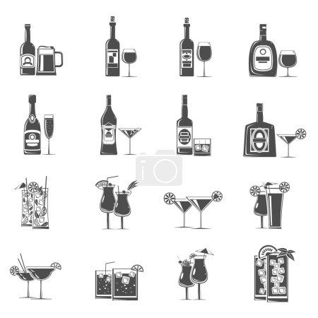 Illustration pour Cocktail boissons et rafraîchissements icônes noir ensemble vectoriel isolé illustration - image libre de droit