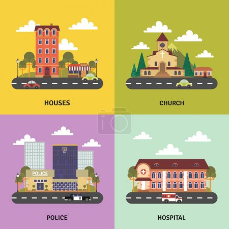 Illustration for Urban landscape 4 flat icons square composition banner with police department and church abstract isolated vector illustration - Royalty Free Image