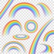 Rainbows in different shape realistic set on trans...