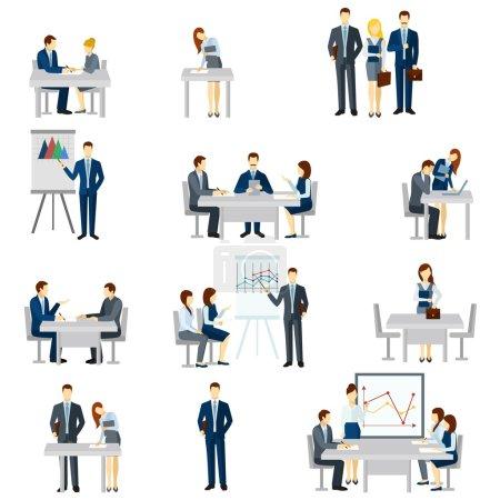 Illustration pour Icônes de coaching d'entreprise avec diagrammes de discussion et illustration vectorielle isolée plate d'équipe - image libre de droit