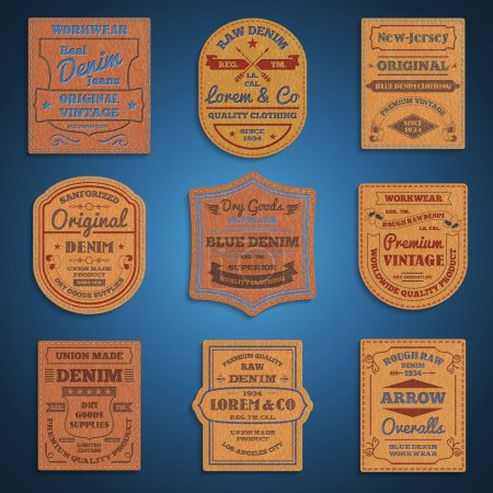 Leather classic denim jeans labels set