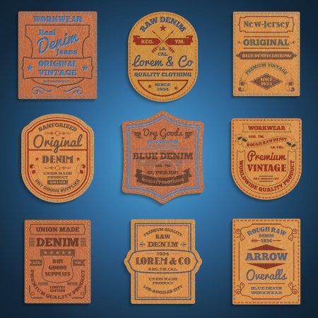 Leather classic denim jeans labels set