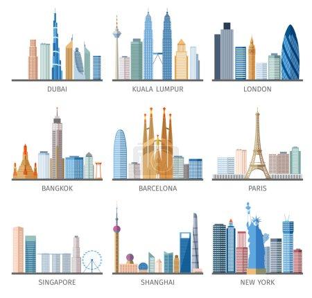 Photo pour Capitales célèbres et les villes caractéristiques du centre d'affaires du centre-ville bâtiments silhouettes jour skyline abstrait vecteur isolé illustration - image libre de droit