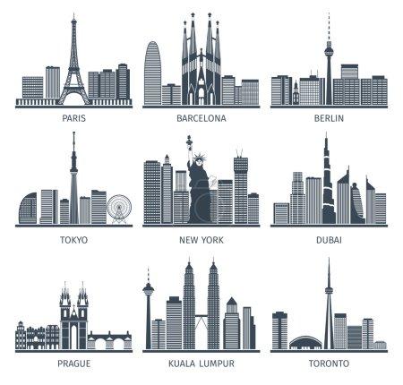 Photo pour Skylines urbaines icônes noir blanc serties d'illustration vectorielle isolée plate Paris Berlin et New York - image libre de droit