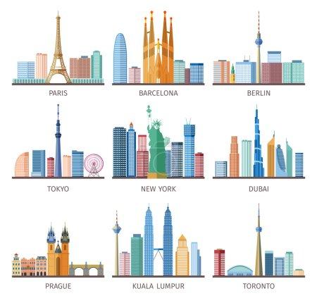 Photo pour Villes icônes skylines mis autour du monde avec tour Eiffel et Statue de la Liberté plat illustration vectorielle isolée - image libre de droit