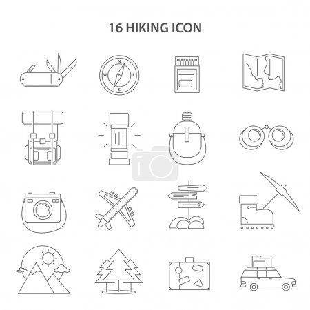 Illustration for Hiking line black white icons set with compass map and car flat isolated vector illustration - Royalty Free Image