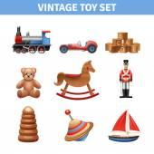 Vintage Toy Icons Set