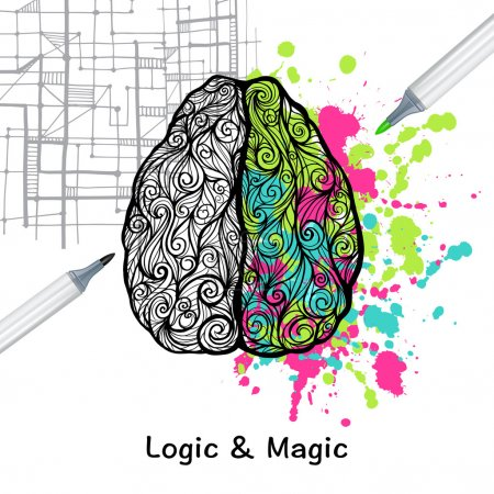 Illustration pour Cerveau humain dessiné à la main avec logique gauche et illustration vectorielle de l'hémisphère droit créatif - image libre de droit