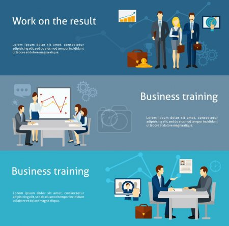 Illustration for Business coaching and personnel training as  effective management strategy  flat banners set poster abstract isolated vector illustration - Royalty Free Image