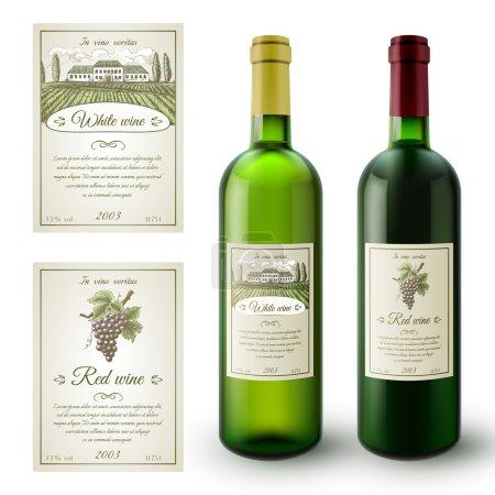 Ilustración de Botellas de vino realista y etiquetas adhesivas de papel conjunto ilustración vector aislado - Imagen libre de derechos