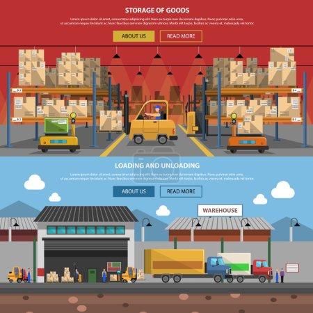 Illustration pour Ensemble de bannière horizontale d'entrepôt avec des éléments de stockage de marchandises plates illustration vectorielle isolée - image libre de droit