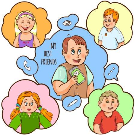 Illustration pour Enfant et leur amitié et la communication avec le meilleur ami texte couleur dessin animé concept illustration vectorielle - image libre de droit