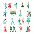 Various style dancing men solo and pairs flat icon...