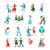 Különböző stílusú tánc ember ikonok