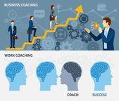 Business coaching horizontal flat banners set