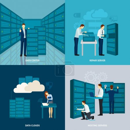 Illustration pour Concept de centre de données avec serveurs d'hébergement icônes plates illustration vectorielle isolée - image libre de droit
