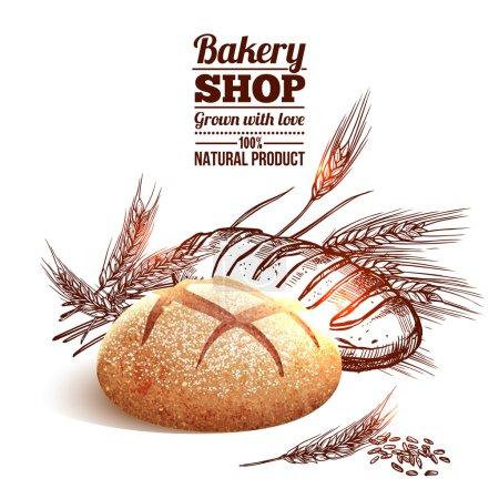 Illustration pour Concept de boulangerie avec croquis pain et blé dessiné à la main sur fond vectoriel illustration - image libre de droit