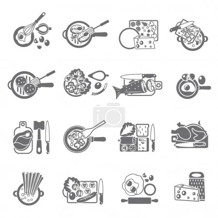 Home cooking black icons set