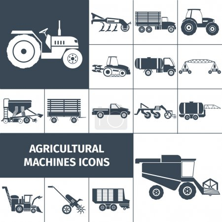 Agricultural Machinery Black White Icons Set