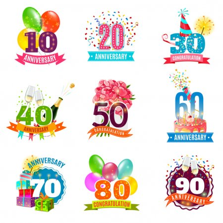 Anniversary birthdays emblems icons set
