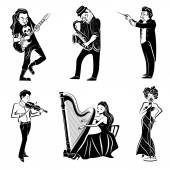 Musicians playing harp violin guitar saxophone and symphony orchestra conductor black icons set abstract isolated vector illustration