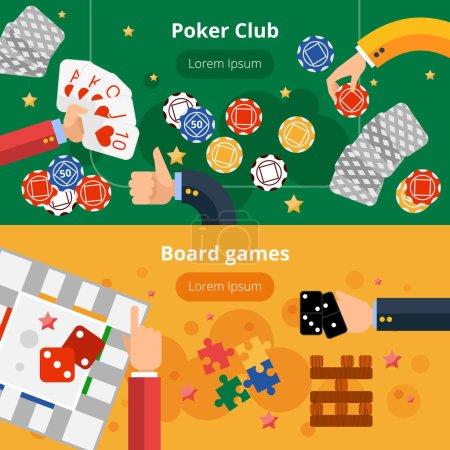 Illustration pour Club de poker en ligne et jeux de société page web interactive deux bannières plates conception abstraite illustration vectorielle isolée - image libre de droit