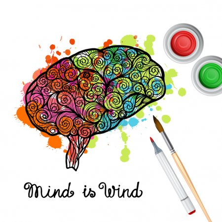 Illustration for Creativity concept with hand drawn human brain with paint splashes vector illustration - Royalty Free Image