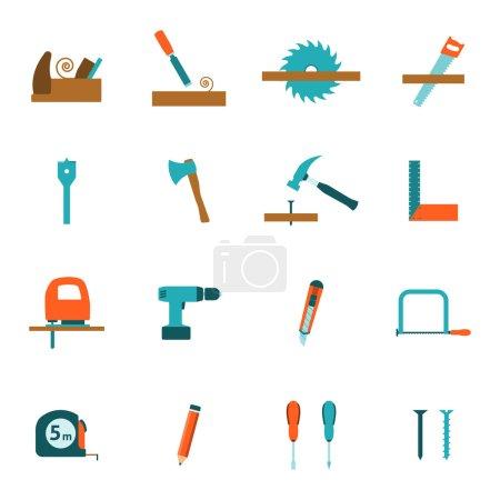 Carpentry tools flat icons set