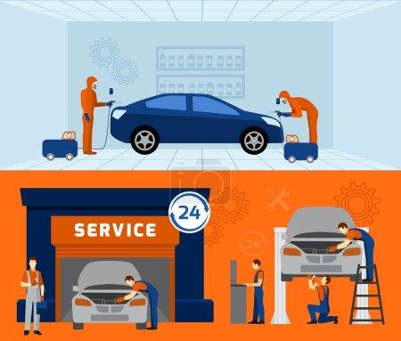 Illustration pour Garage mécanicien automatique service 2 bannières plates avec voiture d'entretien et de rénovation vecteur abstrait illustration isolée - image libre de droit