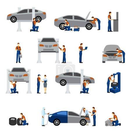 Illustration pour Icônes plates mécaniques serties de silhouettes homme de travail illustration vectorielle isolée - image libre de droit
