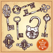 Vintage hand drawn locks keys and keyholes set isolated vector illustration