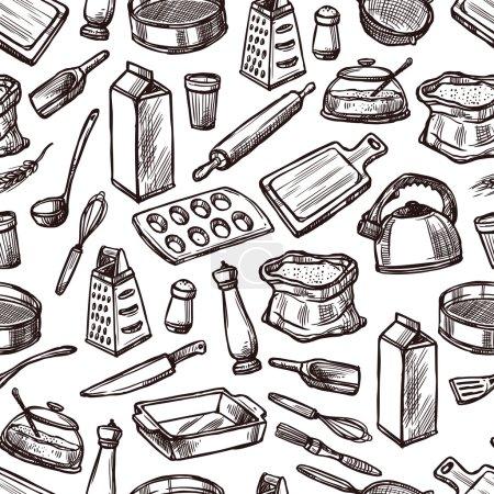 Baking seamless pattern with sketch kitchen equipm...