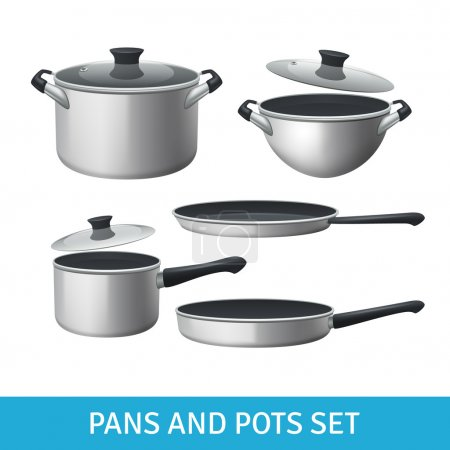 Illustration for Pans and pots realistic set with frying pan saucepan and bowl isolated vector illustration - Royalty Free Image