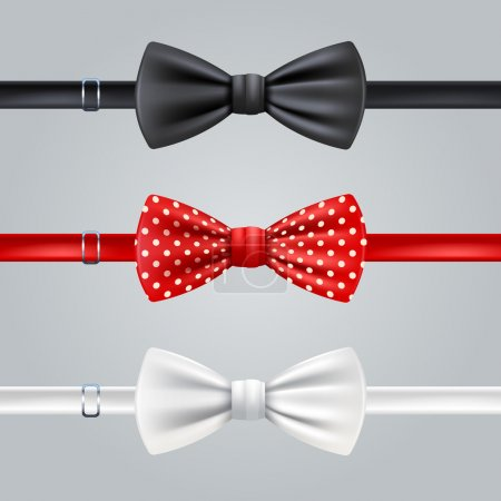 Illustration for Black red dotted and white bow ties realistic set isolated vector illustration - Royalty Free Image