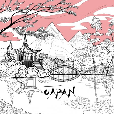 Illustration for Japan landscape background with sketch pagoda sakura branch and mountains on background vector illustration - Royalty Free Image