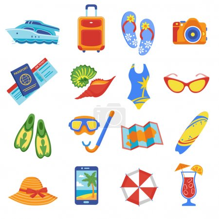 Illustration for Summer holiday tropical beach vacation flat icons set with diving snorkel mask flippers equipment abstract vector illustration - Royalty Free Image
