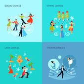 Dance styles Flat Concept
