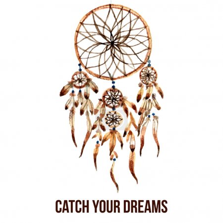 Illustration for Native american indian magical dreamcatcher with sacred feathers to catch dreams watercolor pictogram icon abstract vector illustration - Royalty Free Image