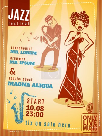 Illustration for Jazz music festival date and time announcement vintage poster with popular saxophonist and drummer abstract vector illustration - Royalty Free Image