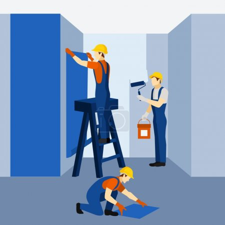 Appartment building renovation work icon poster