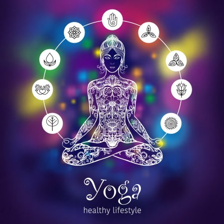 Illustration for Meditating in crossed-legged yoga lotus pose woman with 7 chakras symbols poster colorful background abstract vector illustration - Royalty Free Image