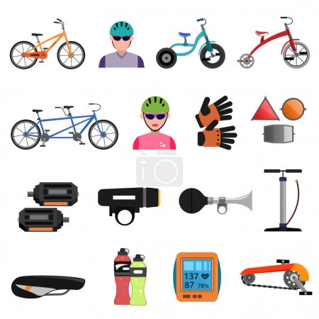 Illustration for Bicycle sport icons flat set with cycling accessories isolated vector illustration - Royalty Free Image