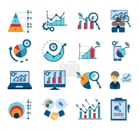 Illustration for Data analysis techniques for effective business management and market research flat icons collections  abstract isolated vector illustration - Royalty Free Image