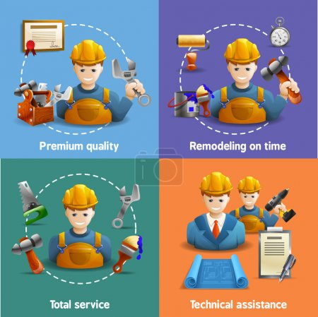 Remodeling service 4 flat icons square