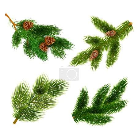 Illustration pour Branches de pin avec des cônes pour les décorations de Noël 4 icônes ensemble composition bannière réaliste abstraite vecteur illustration - image libre de droit