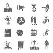 Coaching and sport black flat icons set isolated vector illustration
