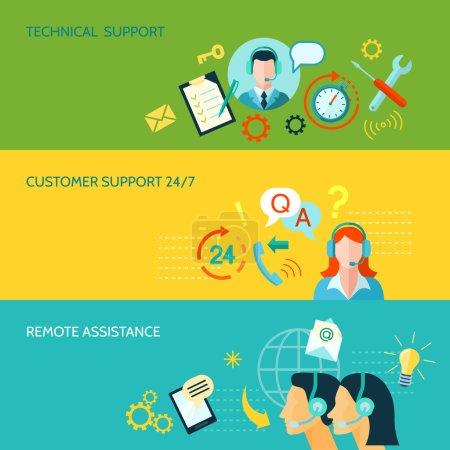 Illustration pour Support client assistance technique et à distance 3 bannières horizontales de style plat illustration vectorielle isolée - image libre de droit