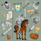 Knights armor fairy tale cartoon icons set isolated vector illustration