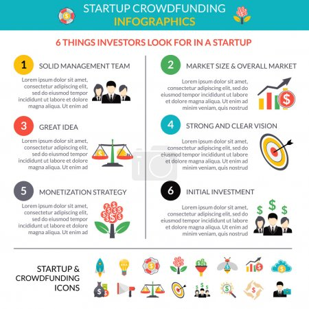 Illustration for Business startup crowdfunding infographic layout poster with 6 important strategic hubs and pictograms symbols abstract vector illustration - Royalty Free Image